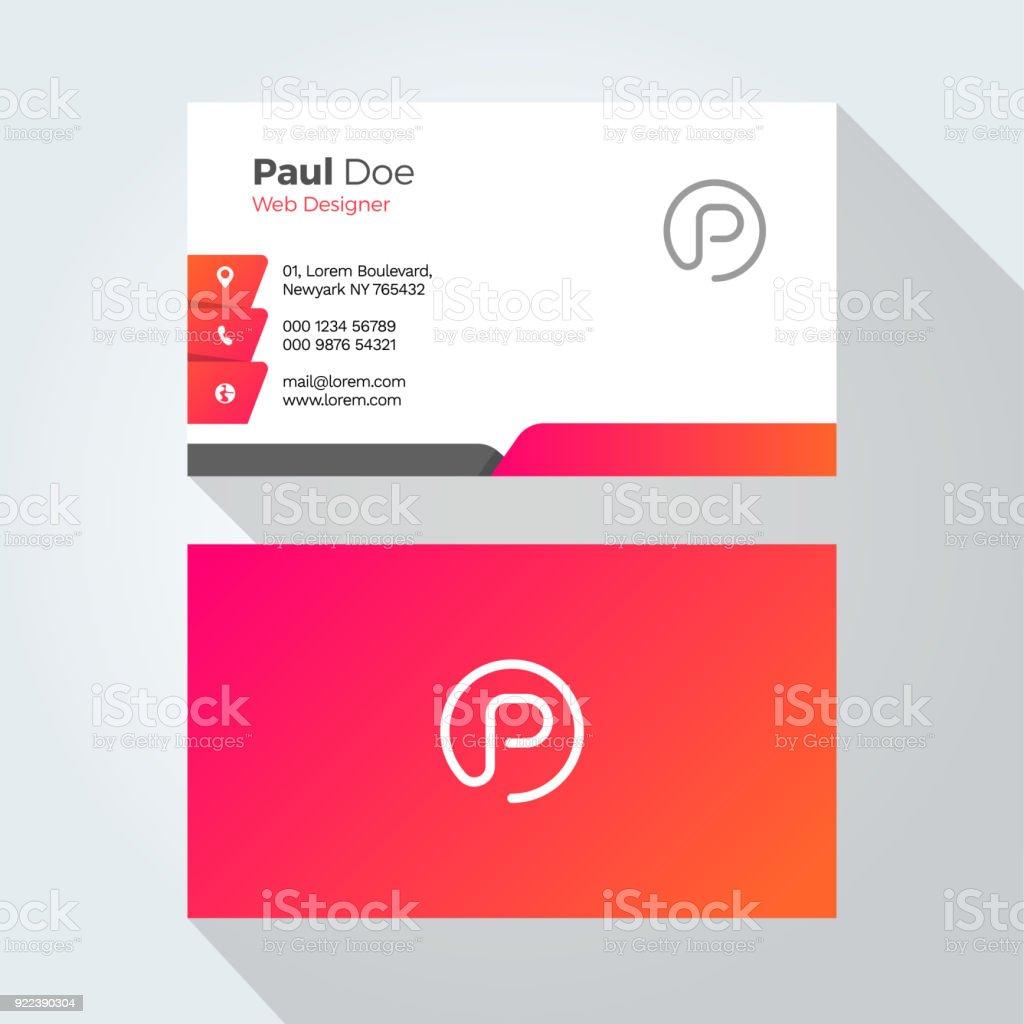 P Letter Modern Minimal Abstract Alphabet Business card design template векторная иллюстрация