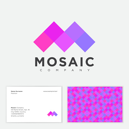 M letter. Mosaic icon. M monogram and letters.