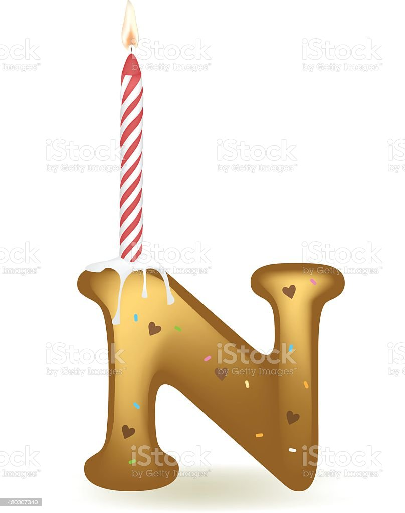 letter n birthday candle cake royalty free letter n birthday candle cake stock vector art