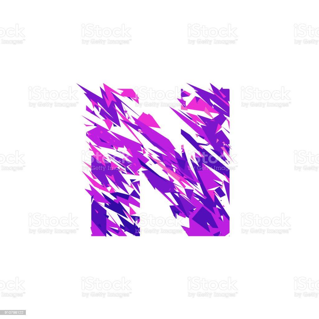 Letter N, broken into a splinters. vector art illustration