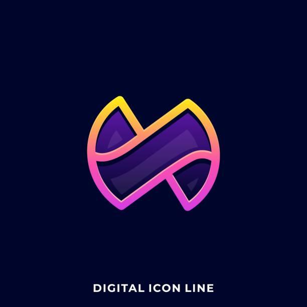 bildbanksillustrationer, clip art samt tecknat material och ikoner med bokstaven n färgglada illustration vektor designmall - social media post template