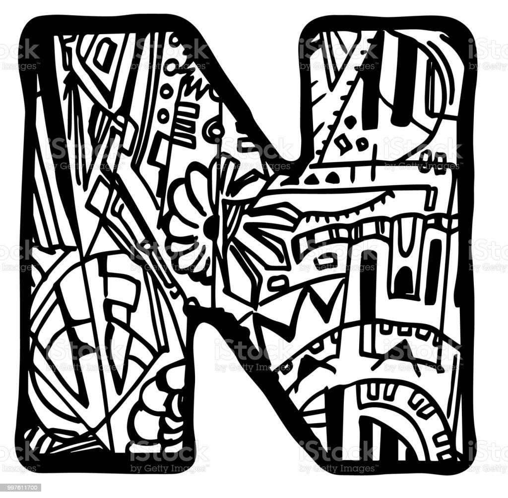 Malvorlagen Buchstaben N Stock Vektor Art Und Mehr Bilder Von Abstrakt