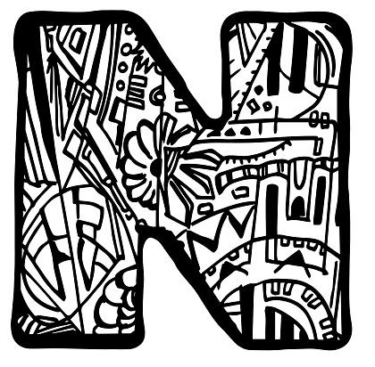Kleurplaten Letter W.Kleurplaat Van De Letter N Stockvectorkunst En Meer Beelden Van Abstract