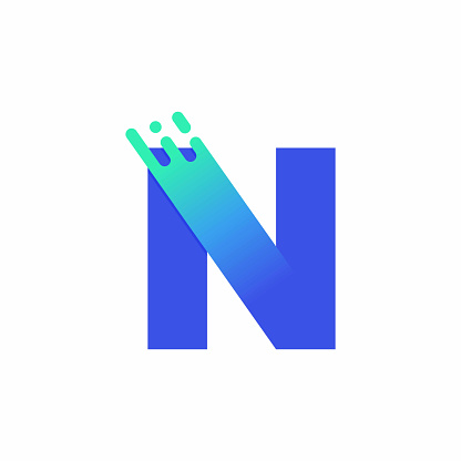 Letter N Design Vector In Blue Green Gradient