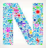 Letter N Family Vacation and Summer Fun Icons Background