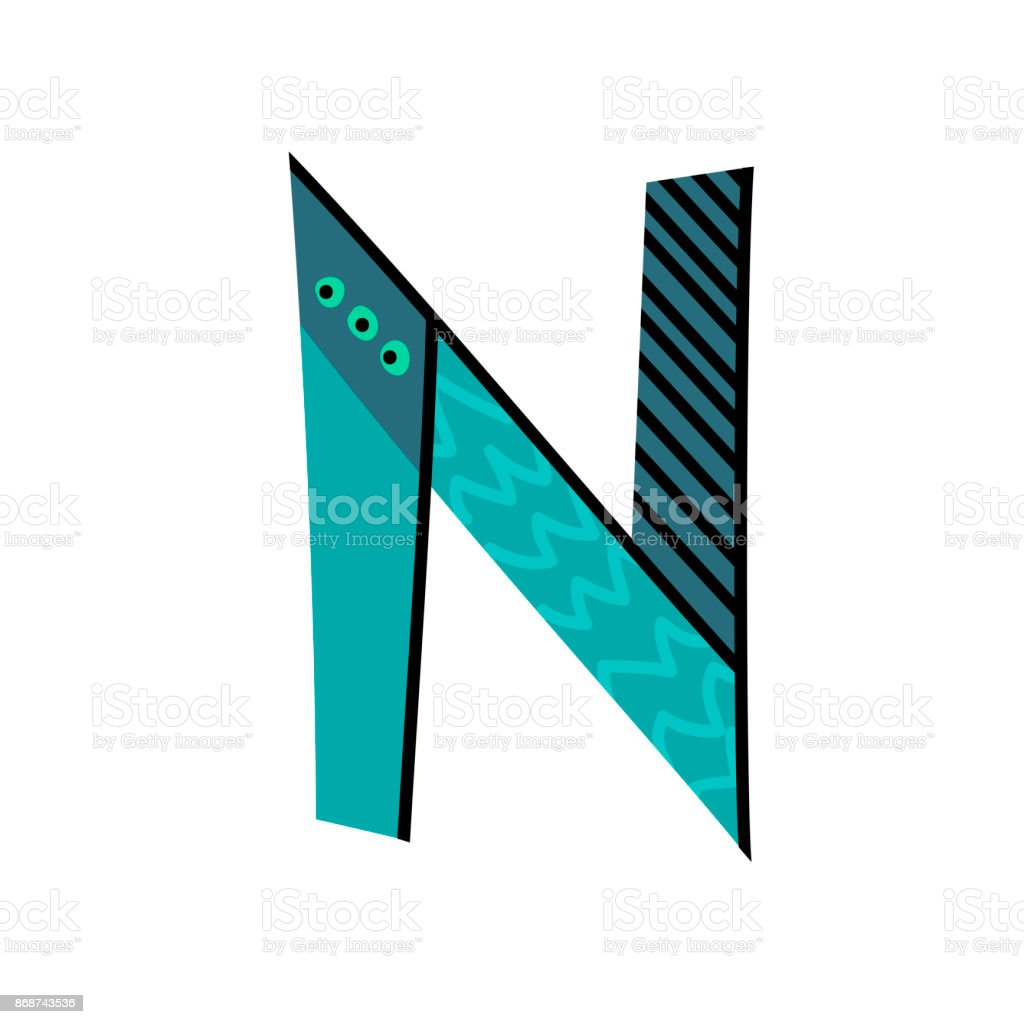 letter n from english alphabet colorful logo template in modern
