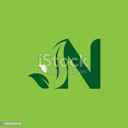 istock Letter N Green Leaf Logo Design Element, Letter N leaf initial logo template 1269263326
