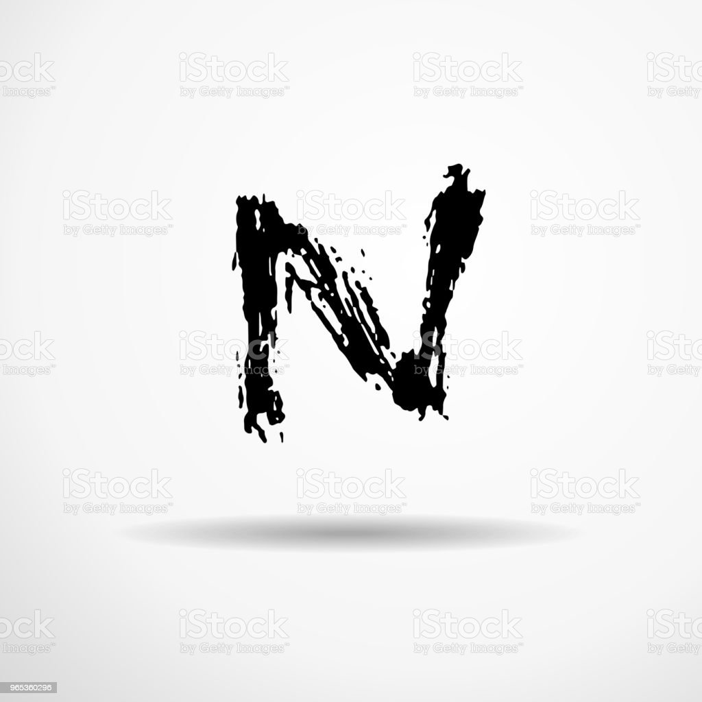 Letter N. Handwritten by dry brush. Rough strokes textured font. Vector illustration. Grunge style alphabet. letter n handwritten by dry brush rough strokes textured font vector illustration grunge style alphabet - stockowe grafiki wektorowe i więcej obrazów alfabet royalty-free