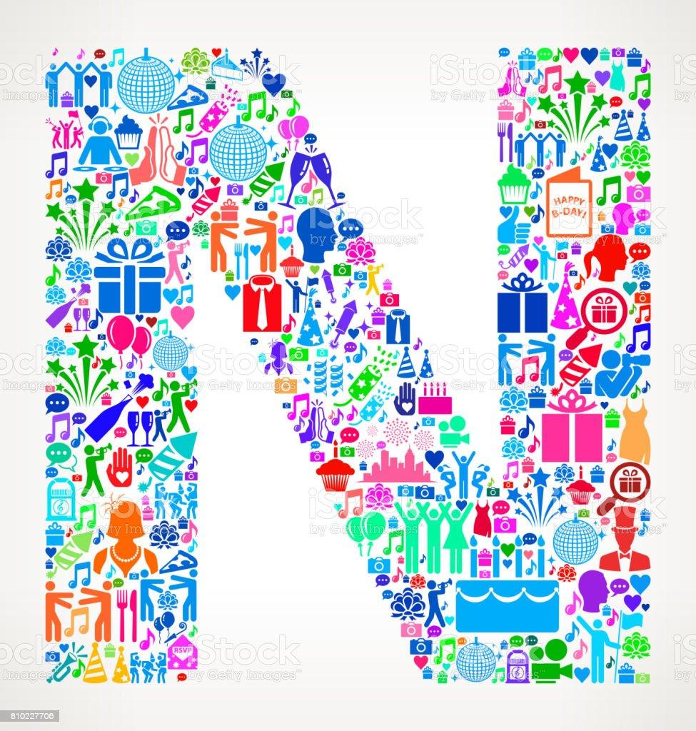 letter n happy birthday celebration vector icon pattern royalty free letter n happy birthday celebration