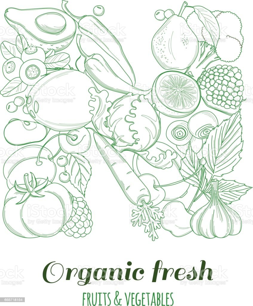 letter n pattern logo organic farm fresh fruits and vegetables