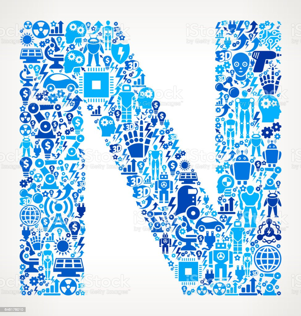 Letter N Robots And Robotics Automation Pattern Stock Vector Art