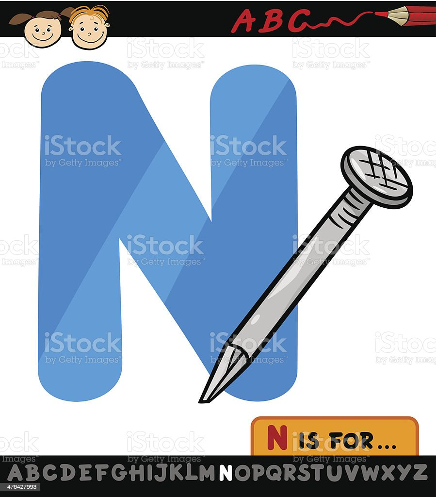 letter n with nail cartoon illustration royalty-free letter n with nail cartoon illustration stock vector art & more images of alphabet