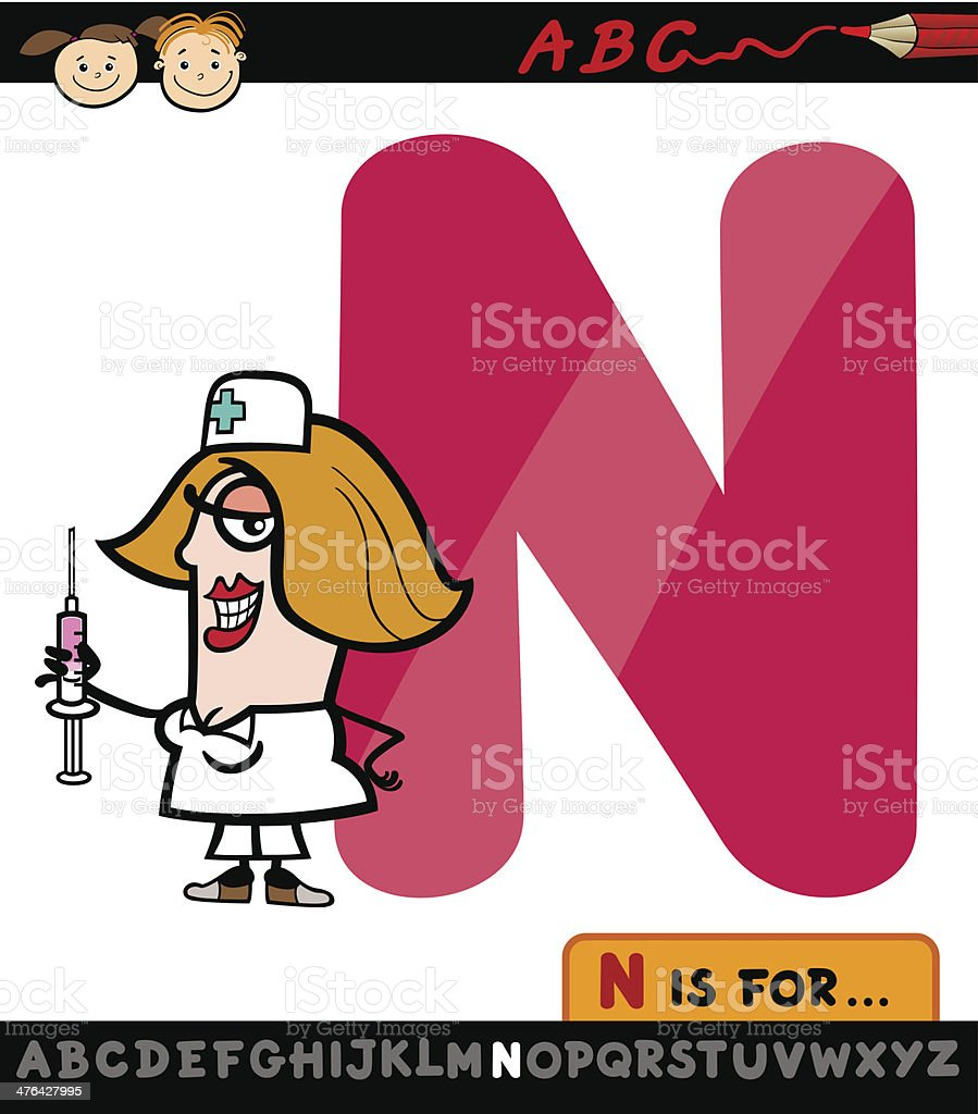 letter n with nurse cartoon illustration royalty-free stock vector art