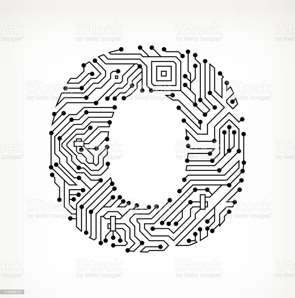 letter o circuit board on white background stock illustration - download image now