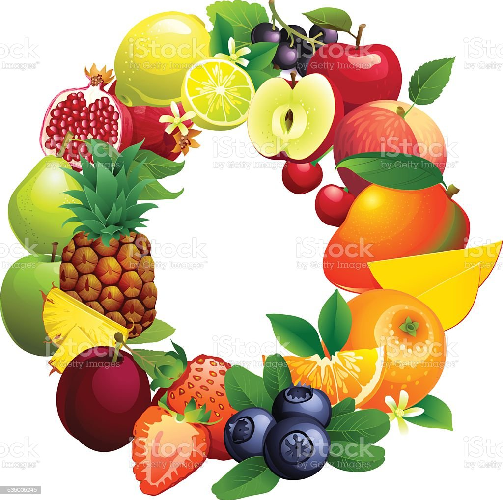 Letter O composed of different fruits with leaves vector art illustration