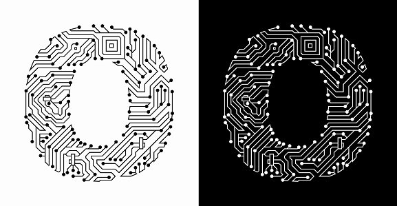 Letter O in Black And White Circuit Board Font