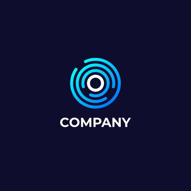 letter o logotype icon design template. technologie abstract line connection circle vector emblem - reisebüro stock-grafiken, -clipart, -cartoons und -symbole