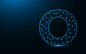Letter O low poly design, alphabet abstract geometric image, font wireframe mesh polygonal vector illustration made from points and lines on dark blue background