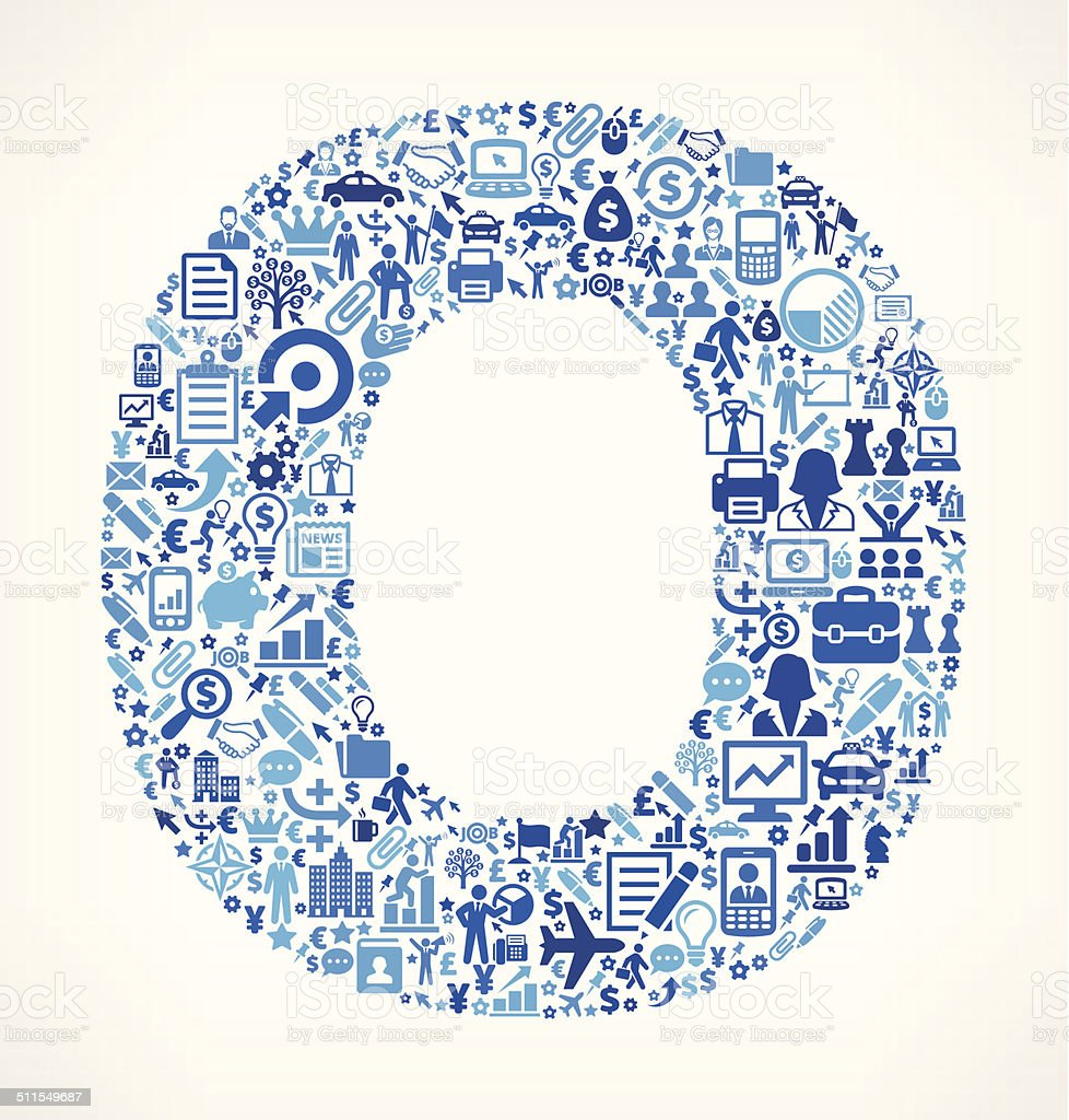 Letter O on Business Icon Pattern