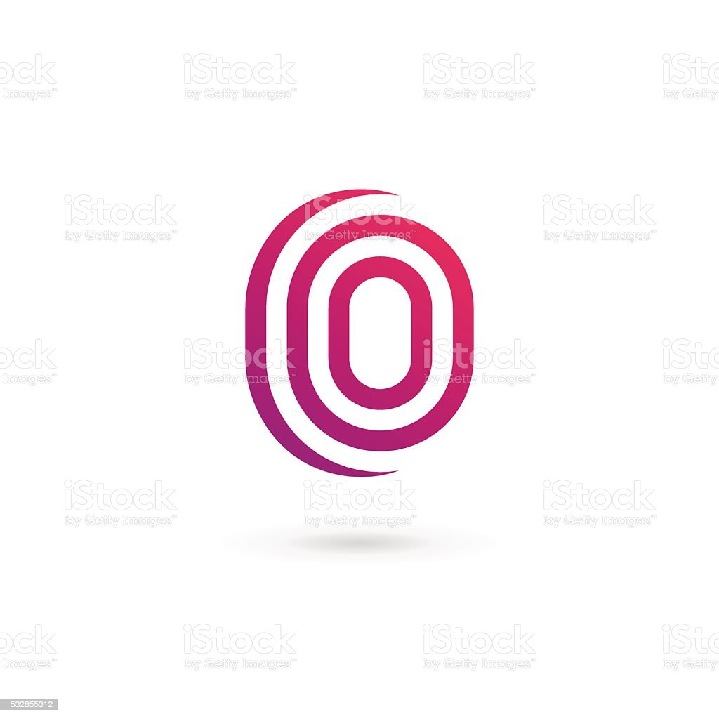 Letter O or number 0 icon vector art illustration