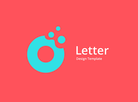 Letter O or number 0 with bubbles icon