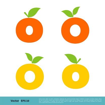 Letter O Orange Fruit Icon Vector Logo Template Illustration Design. Vector EPS 10.