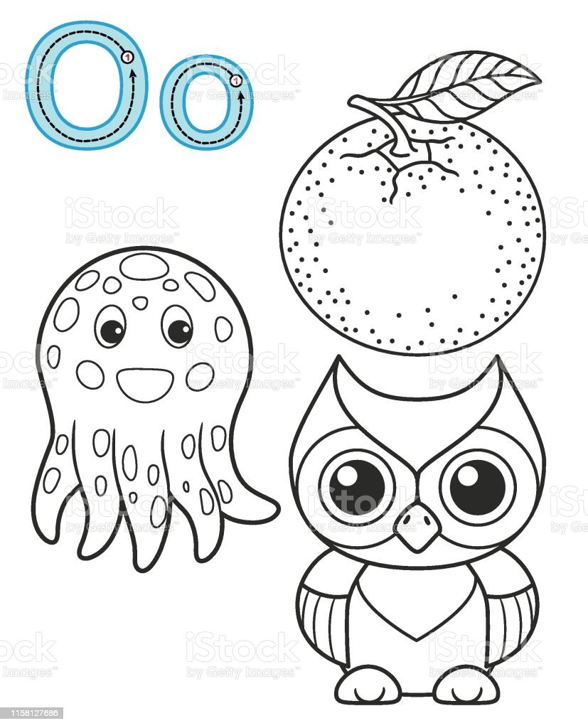 image relating to Letter O Printable named Letter O Orange Owl Octopus Vector Coloring E book Alphabet
