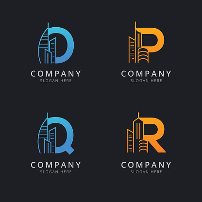 Letter O P Q and R with abstract building logo template