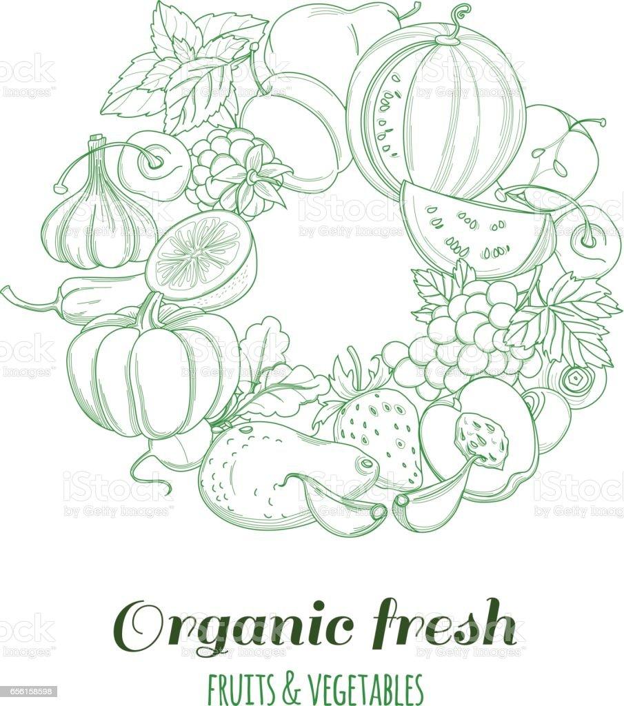 letter o pattern logo organic farm fresh fruits and vegetables