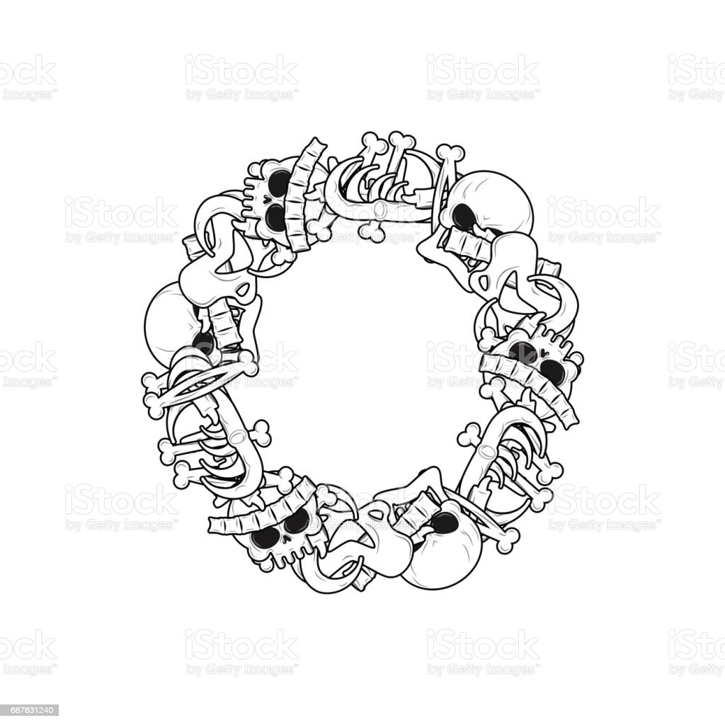 Letter O Skeleton Bones Font Anatomy Of An Alphabet Symbol Dead Abc ...