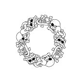 Letter O skeleton Bones Font. Anatomy of an alphabet symbol. dead ABC sign