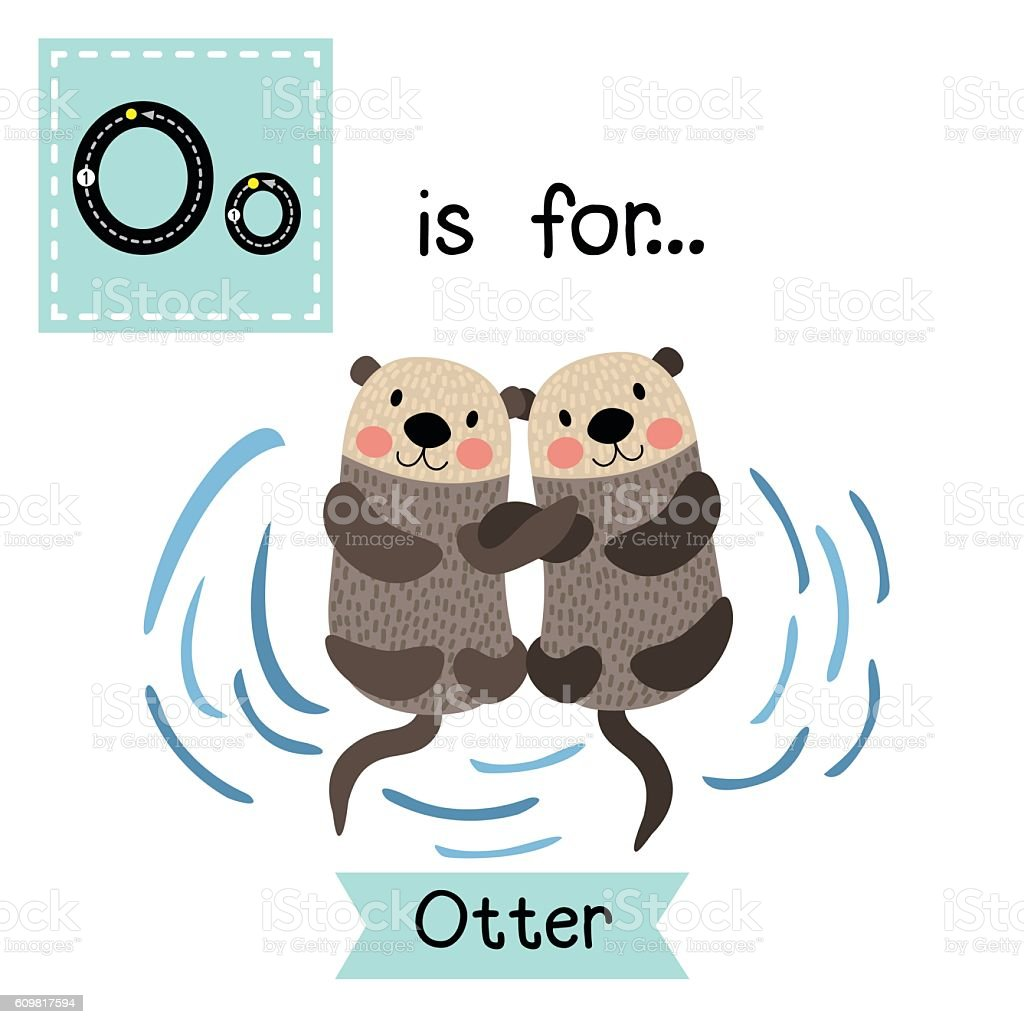 Letter O tracing. Otter couple holding hands. - Illustration vectorielle