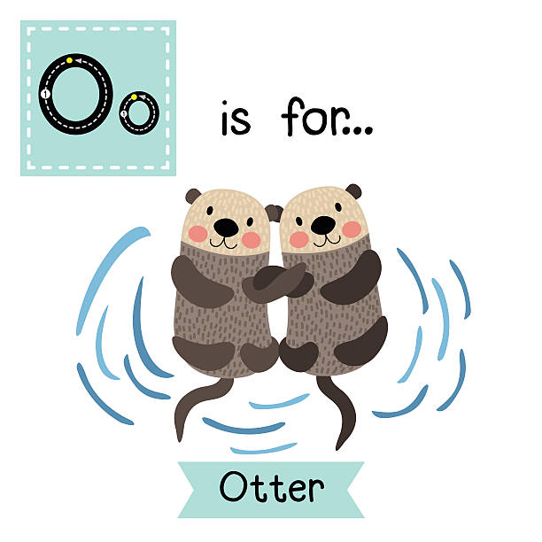 letter o tracing. otter couple holding hands. - otter stock illustrations, clip art, cartoons, & icons