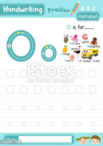 Letter O uppercase and lowercase tracing practice worksheet A4