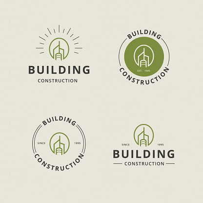 Letter O with abstract building line logo template