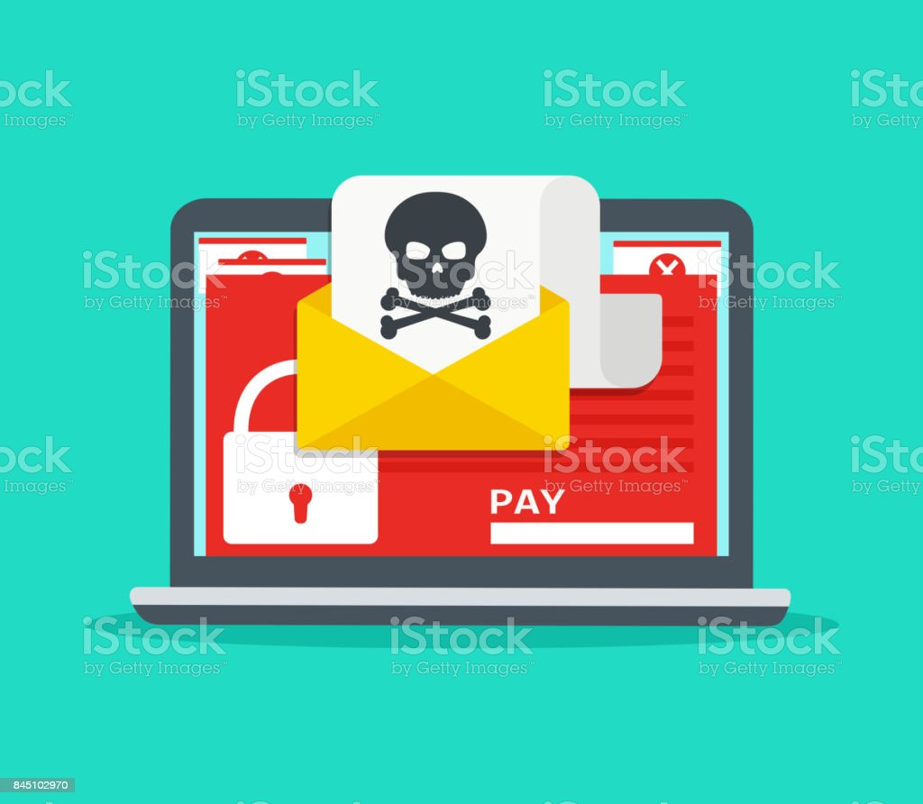 Letter on laptop with malware. Hacker attack, virus - extortionist, email fraud, encrypted files. - Royalty-free Alertness stock vector