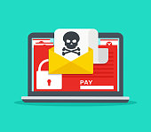 Letter on laptop with malware. Hacker attack, virus - extortionist, email fraud, encrypted files. Concept of security on Internet.