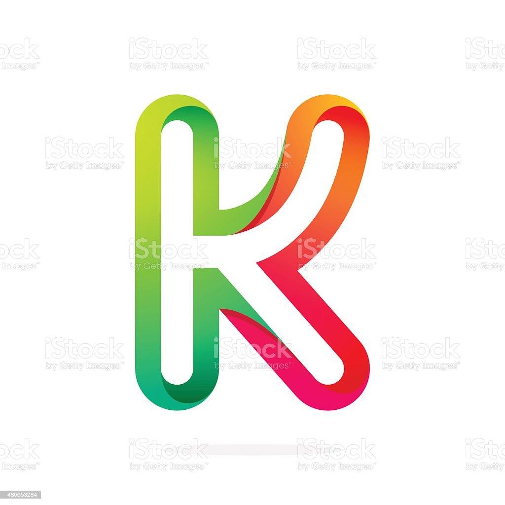 One Line Letter Art : K レター ラインのカラフルなアイコン アイコンのベクターアート素材や画像を多数ご用意