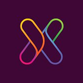 X letter one line neon colorful icon.