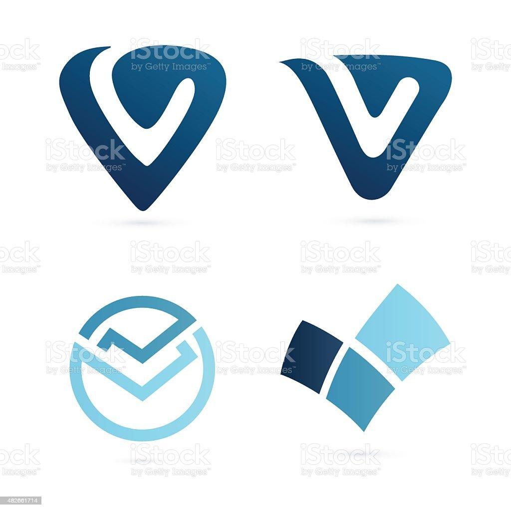 V letter or check mark, verification icon vector art illustration