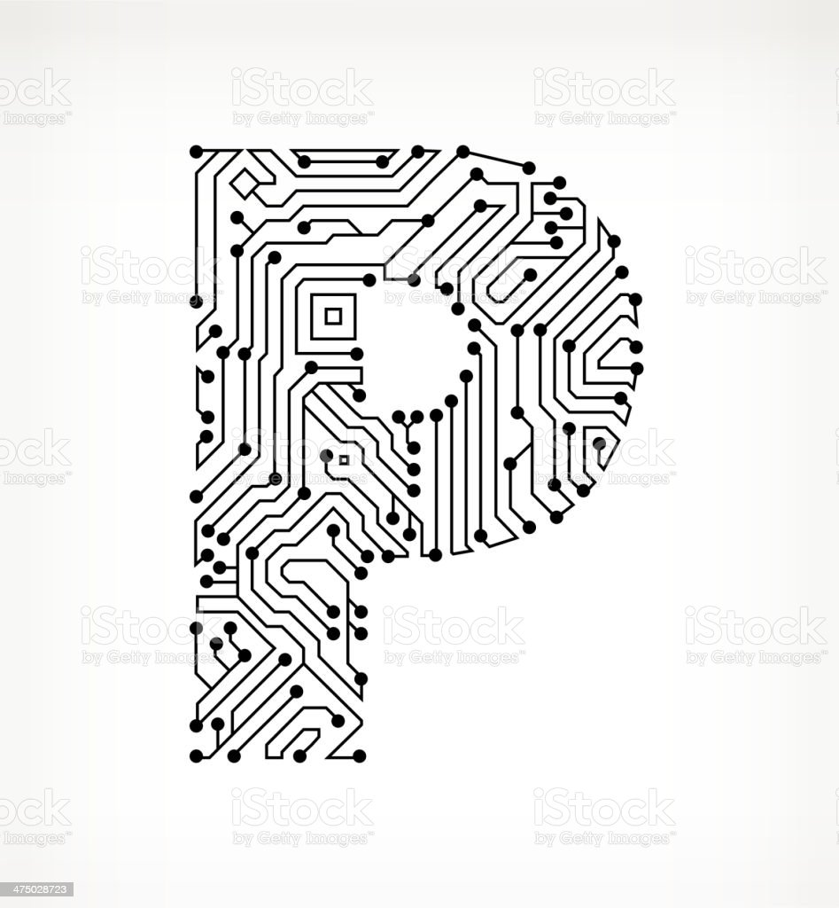 letter p circuit board on white background stock vector