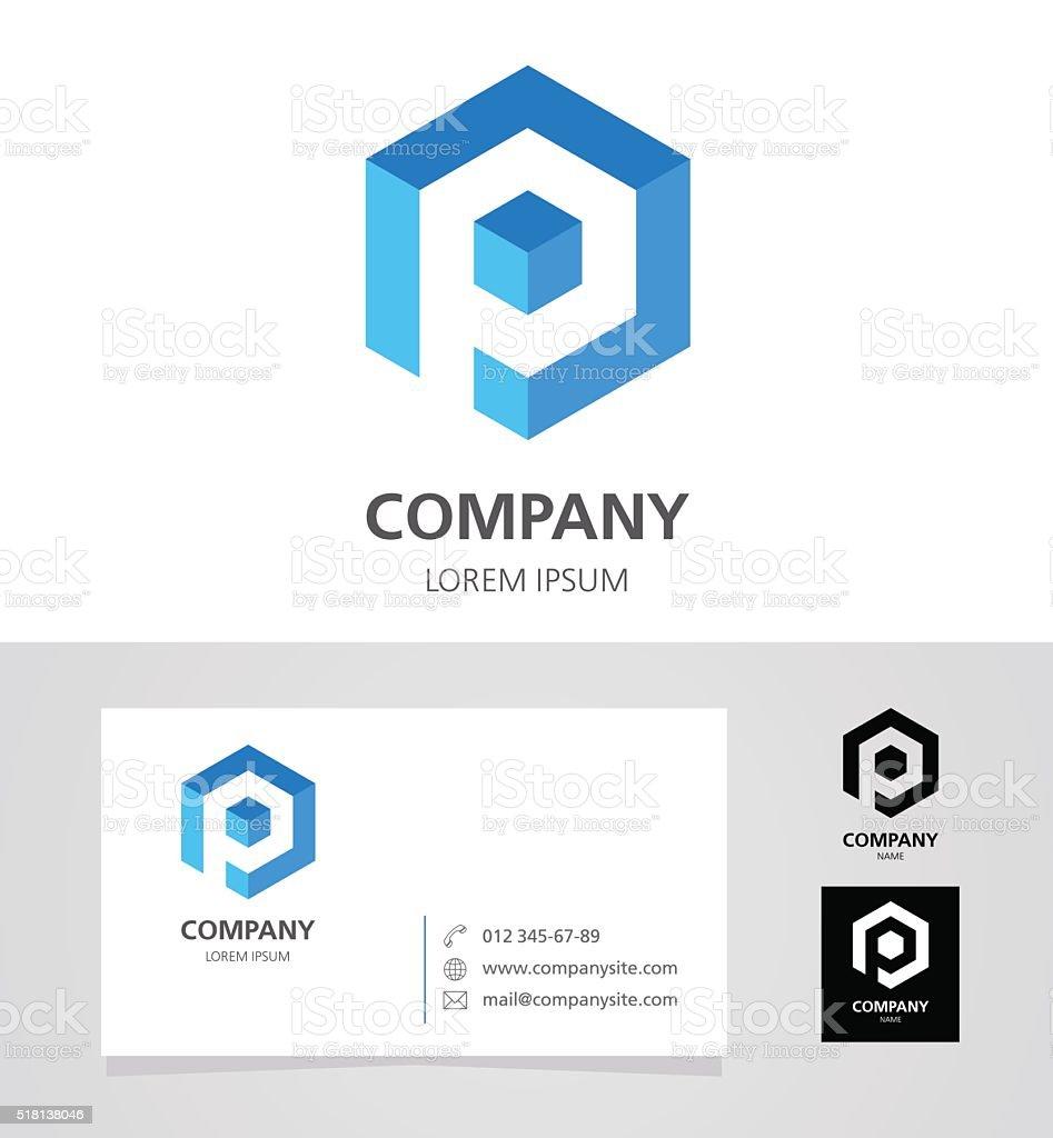 Letter P - Emblem Design Element with Business Card - illustration vector art illustration