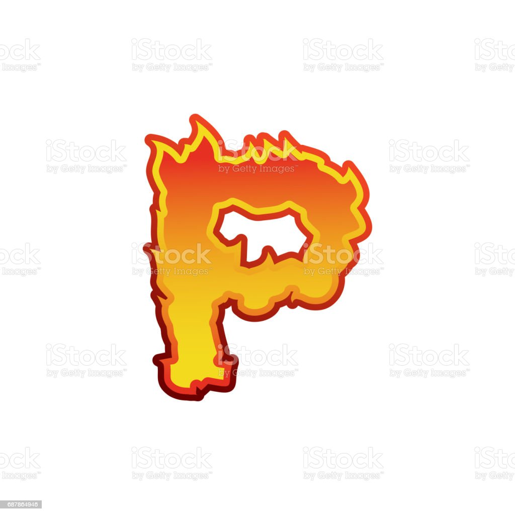 Flames Font Lettering Tattoo Alphabet Character Fiery Sign Royalty