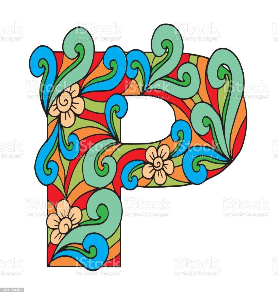 Letra P Para Colorear Objeto Decorativo De Vector Ilustración ...