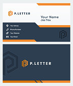 letter P icon symbol and business card - vector