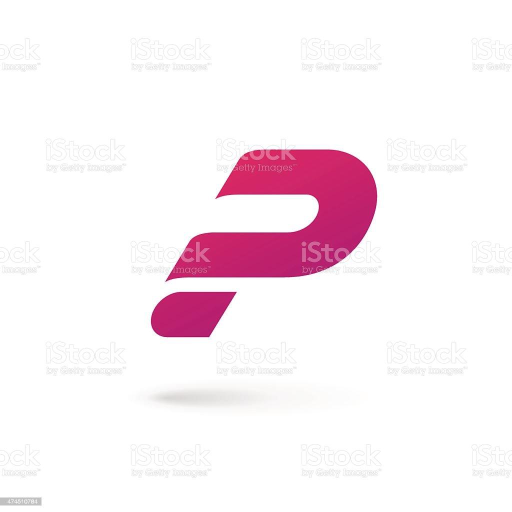 Letter P icon vector art illustration