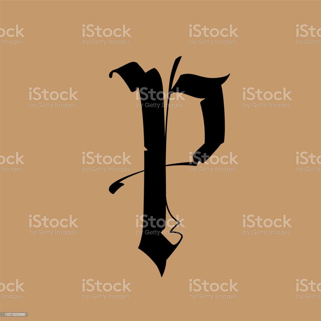 Lettre P Dans Le Style Gothique Vector Alphabet Le Symbole Est Isole
