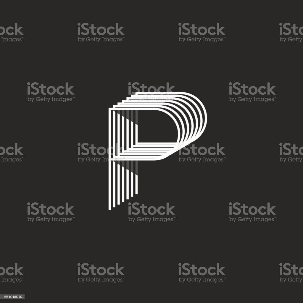 Letter P isometric symbol mockup modern monogram, parallel thin lines geometric shape design element, business card emblem template vector art illustration