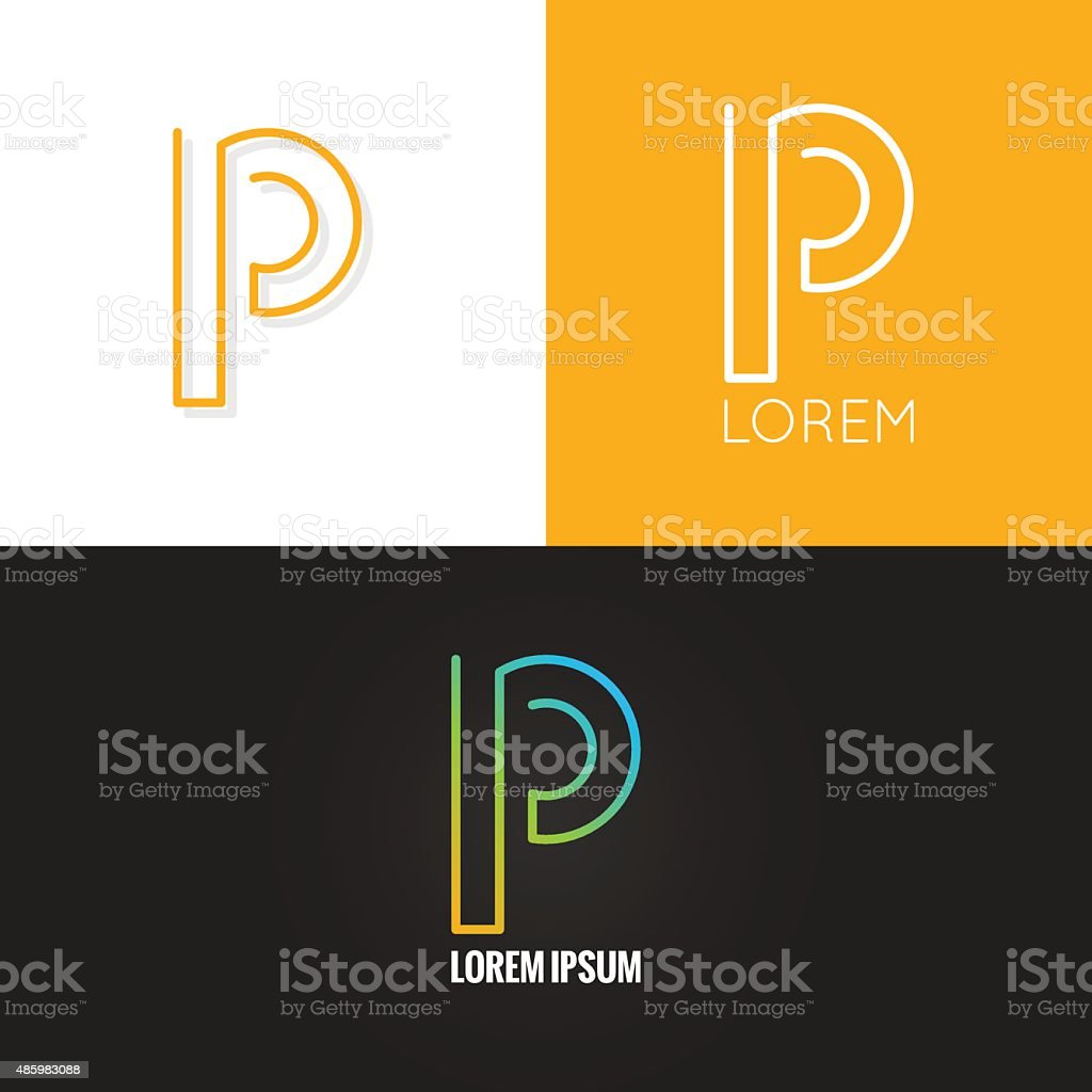 letter P logo alphabet design icon set background vector art illustration