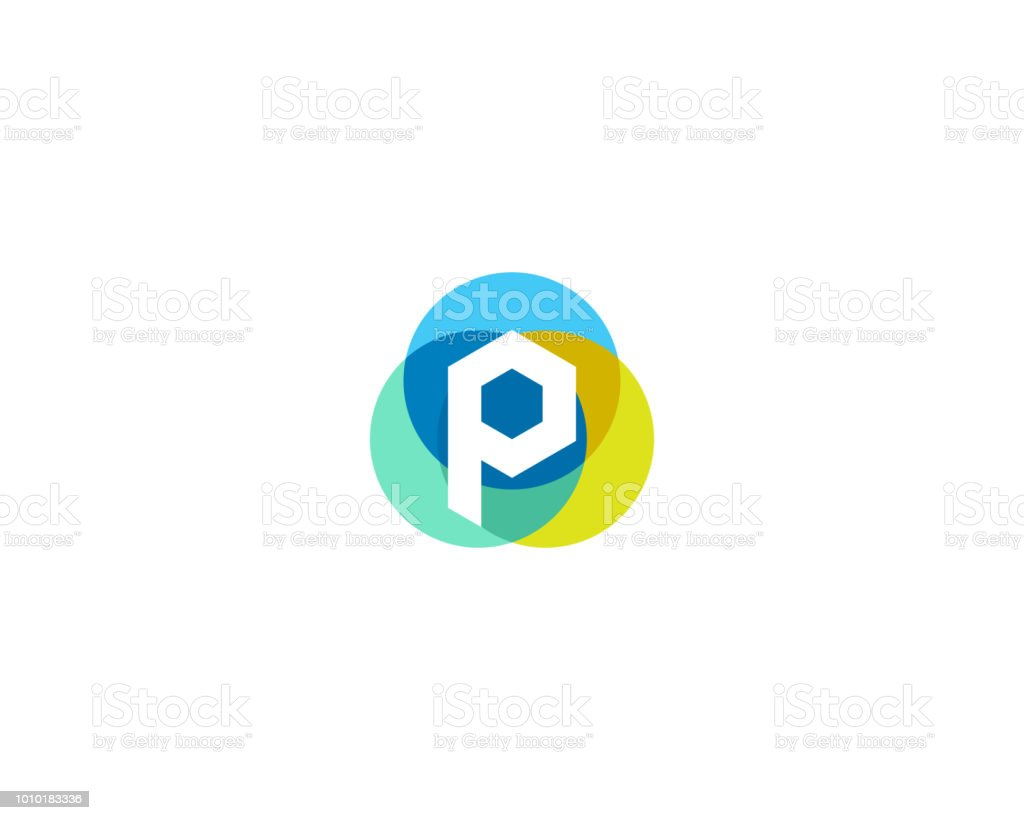letter p logo design colorful circles overlay icon logotype royalty free letter p